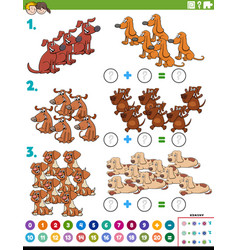 Maths addition educational task with dogs vector
