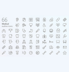 medical outline iconset vector image