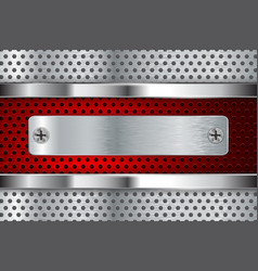 Metal perforated background with red element vector