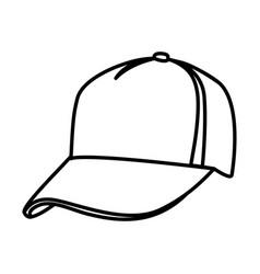 monochrome contour of baseball cap vector image vector image