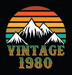 Mountain vintage 1980 vector