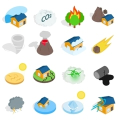 Natural disaster catastrophe icons set vector