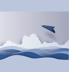 origami made dolphin in the sea vector image