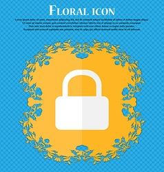 Pad Lock icon Floral flat design on a blue vector