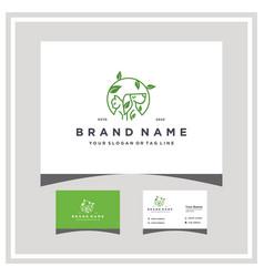 Pet leaf logo design and business card vector