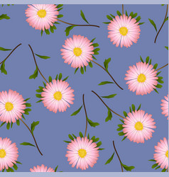 Pink aster daisy on purple background vector