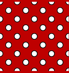 polka white on red background seamless pattern vector image