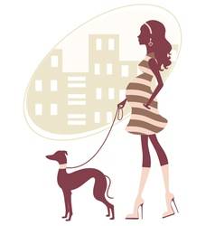 Pregnant woman with greyhound vector