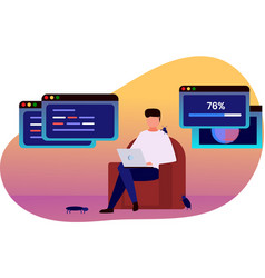 professional programmer coding from home vector image
