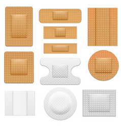 realistic 3d detailed bandage plaster set vector image