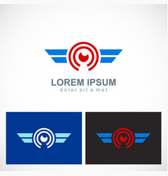 round eye wing technology logo vector image