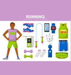 Running sport equipment marathon runner man vector