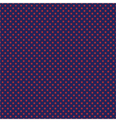 Seamless pattern with red polka dots on blue vector