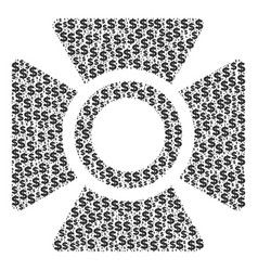 Searchlight collage of dollar and dots vector