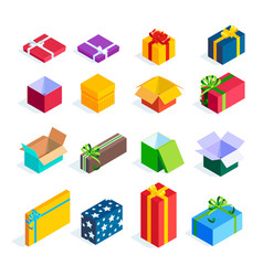 set isometric gift boxes isolated vector image