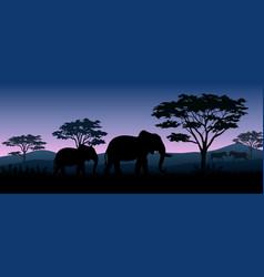 silhouette animals savannas in the night vector image