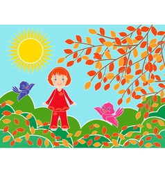 Small girl near tree in sunny autumn day vector image
