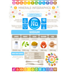 Sodium mineral supplements rich food icons vector