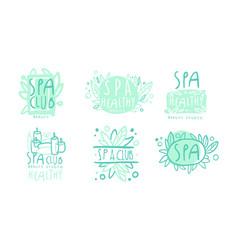 spa club labels or logos design set vector image
