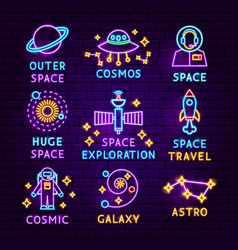 space neon label set vector image