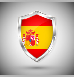 spain flag on metal shiny shield collection vector image