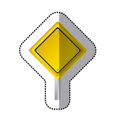 sticker yellow diamond shape traffic sign with vector image