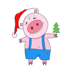 Stock pig with christmas tree vector