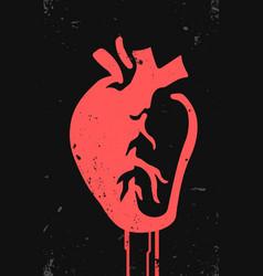 Stylized anatomical heart tattoo art graffiti vector