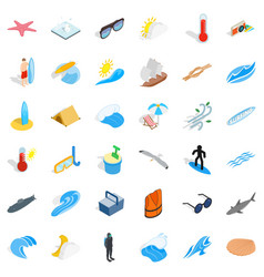 Summer rest icons set isometric style vector