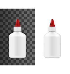 Super glue white plastic bottle package mockup vector