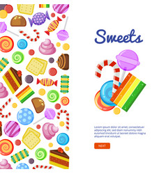sweets biscuits cakes chocolate and caramel vector image