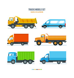 Trucks for transportation of goods and people vector