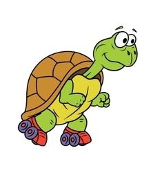 Turtle on roller skates vector image