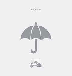 Umbrella button - minimal icon vector