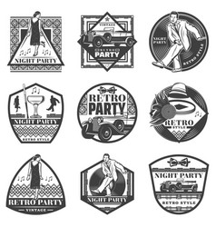 vintage monochrome retro party labels set vector image