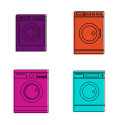 washmachine icon set color outline style vector image