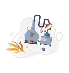 Whiskey drink in pot still and barley spikelet vector