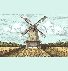 windmill landscape in vintage retro hand drawn or vector image