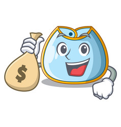 With money bag character baby bib for feeding vector