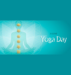 yoga day card lotus pose and gold chakra icons vector image