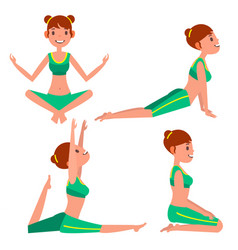 yoga woman poses set girl yoga exercise vector image