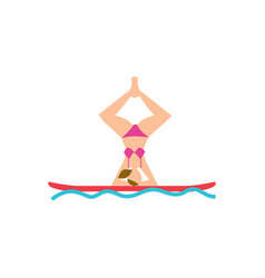 young woman doing yoga asana on board vector image