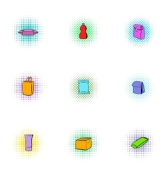 Container icons set pop-art style vector