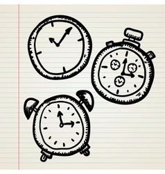 Doodle clocks set vector image vector image