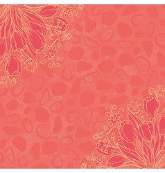 Outline flowers on abstract background vector image vector image
