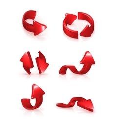 Red arrows set vector image