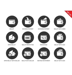 Wallet icons on white background vector image vector image