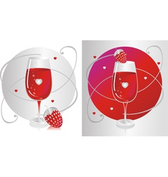 Wine Glass with Strawberry vector image vector image