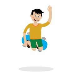A boy on a skateboard doing a trick vector