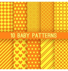 Baby different seamless patterns Orange and yellow vector image vector image
